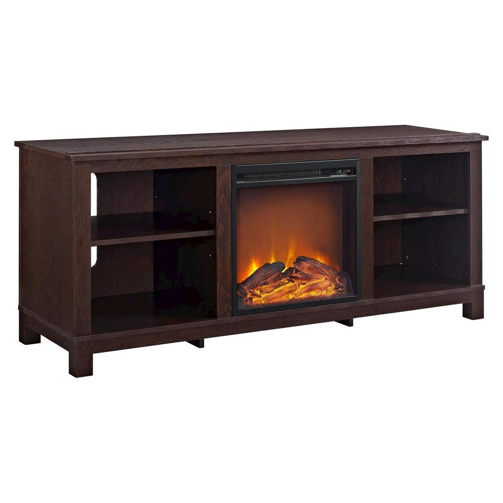 Brenner TV Console With Fireplace For TVs Up To 60 Espresso - Room & Joy, Cherry Espresso