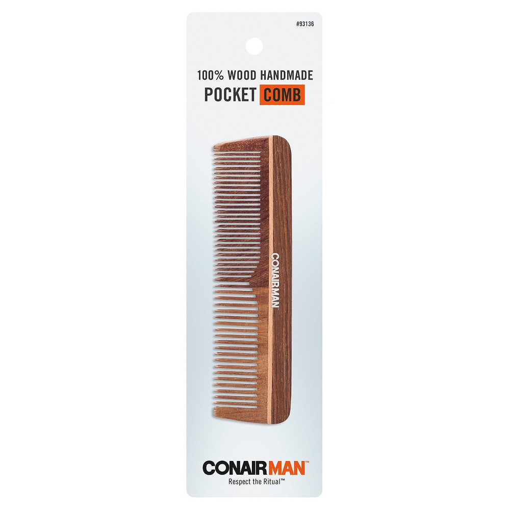 Conair Hand Cut Wooden Pocket Comb, Black