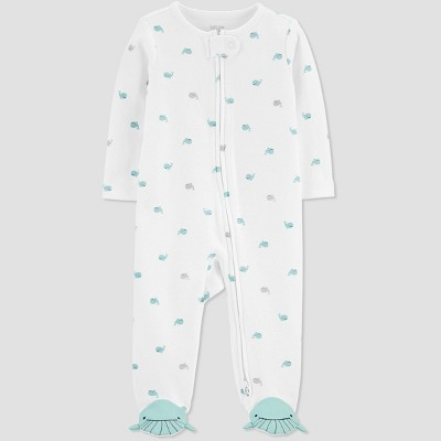 Baby Boys' Whale One Piece Pajama - Just One You® made by carter's White 3M