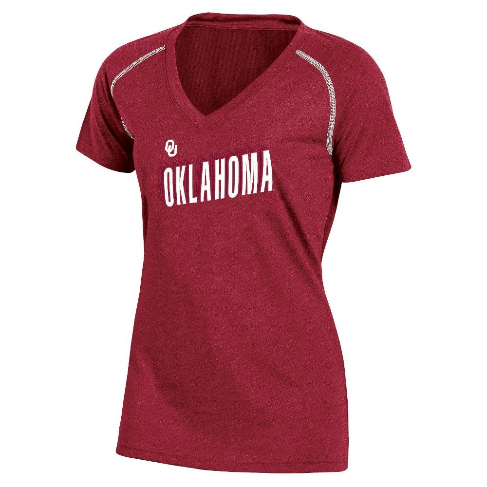 NCAA Women's Workout Warrior V-Neck Mesh Back Performance Soft-Touch T-Shirt Oklahoma Sooners - L, Multicolored