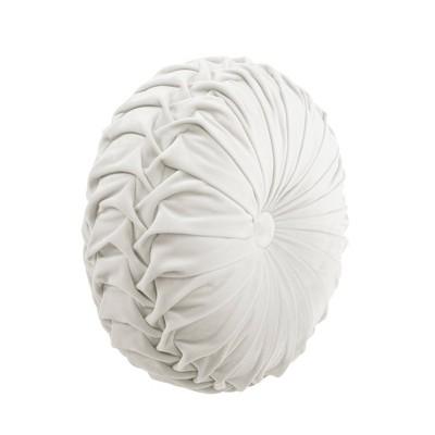 """15"""" Pleated Round Throw Pillow White - Lush Décor"""