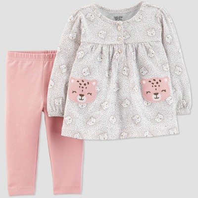 Baby Girls' 2pc Cheetah Top & Bottom Sets - Just One You® made by carter's Gray/Peach 3M