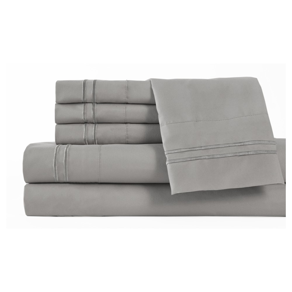 Image of 6pc Microfiber Double Marrow Sheet Sets (Full) Gray - Elite Home Products