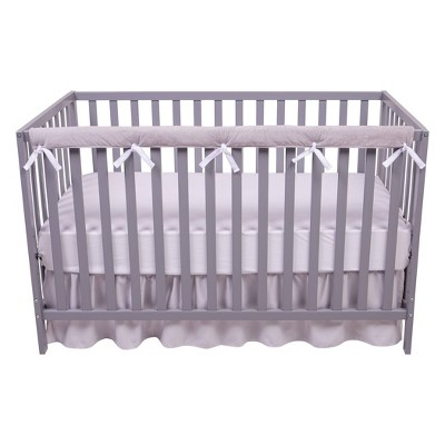 Sammy and Lou Long Reversible Velour Crib Rail Cover - White/Gray