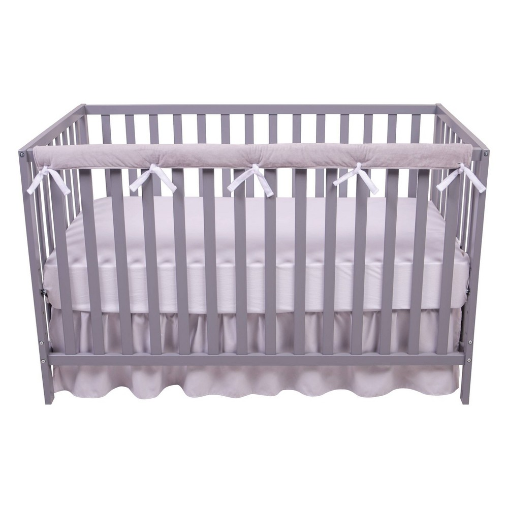 Image of Sammy and Lou Long Reversible Velour Crib Rail Cover - White/Gray