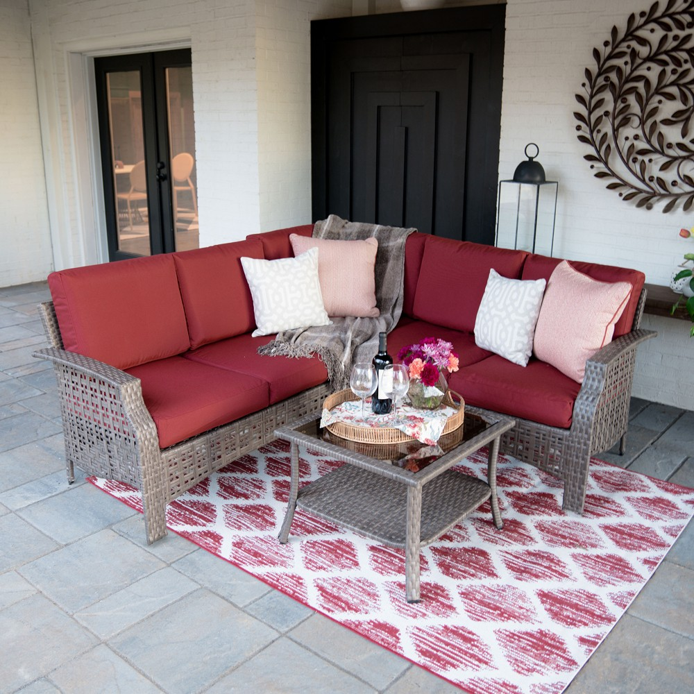 4pc Concord All-Weather Wicker Corner Sectional Red - Leisure Made