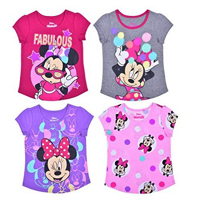 Disney Girl's 4-Pack Fabulous Minnie Mouse Short Sleeve Graphic Tee Shirt Set for Toddlers
