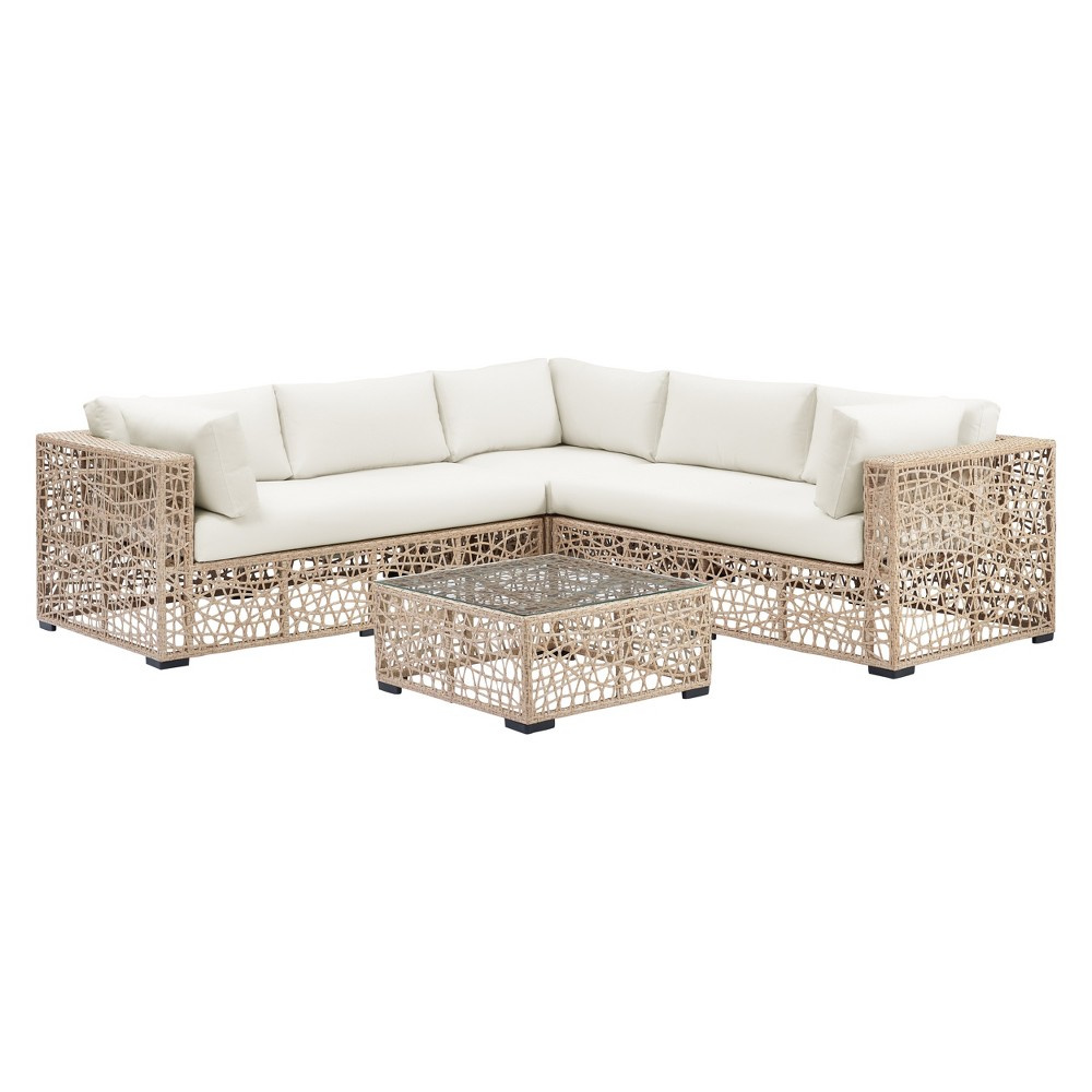 4pc Random Weave Box Sectional with Cushions Desert Natural - Saracina Home
