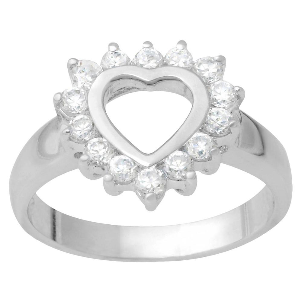 3/10 CT T.W. Round Cut Cubic Zirconia Basket Set Heart Ring in Sterling Silver (9), Women's