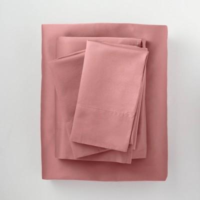 Queen 500 Thread Count Washed Supima Sateen Solid Sheet Set Rose - Casaluna™