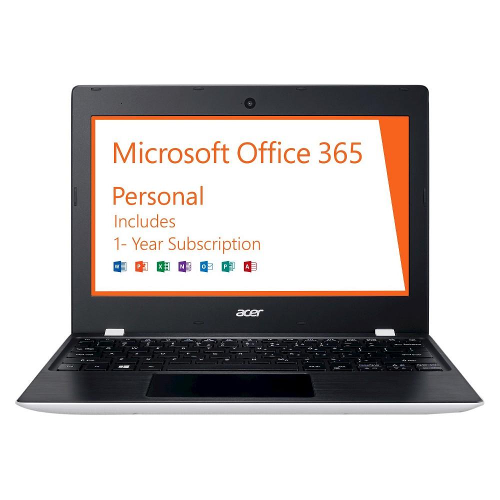 "Acer Aspire One 11, 11.6"" HD, Intel Celeron N3060, 2GB RAM, 32GB, Windows 10, Office 365 Personal - 1 year (AO1-132-C3T3), White"