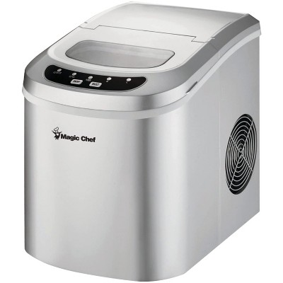 Magic Chef MCIM22SV Portable Home Countertop Ice Maker with Settings Display, 27 Pounds Per Day, Silver