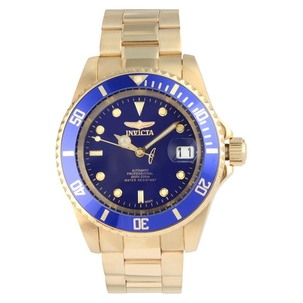 Men's Invicta 8930OB Pro Diver 18K Gold Ion-plated Stainless Steel Link Watch - Blue