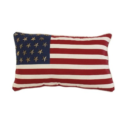 """Décor Therapy 12""""x20"""" American Flag With Studs Throw Pillow Red"""