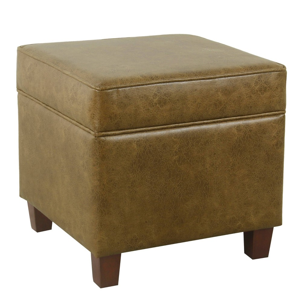 Square Storage Ottoman with Lift Off Top Faux Leather Brown - Homepop was $89.99 now $67.49 (25.0% off)