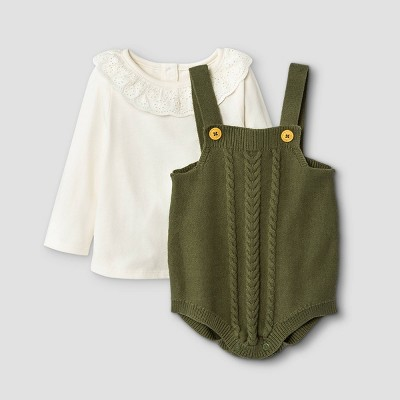 Baby Girls' Sweater Romper Top & Bottom Set - Cat & Jack™ Olive Green 3-6M