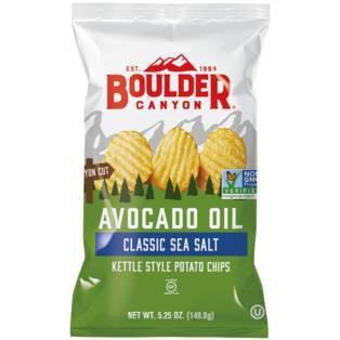 Boulder Canyon Avocado Oil Sea Salt Kettle Style Potato Chips - 5.25oz/12pk