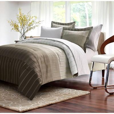 Ombre Stripe Bed in a Bag Comforter Set - Brown & Grey