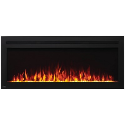 Napoleon NEFL50HI Purview 5000 BTU 1500 Watt 50 Inch Linear Electric Wall Mounted Recessed Fireplace with Remote, Heater, and Color Changing Flame
