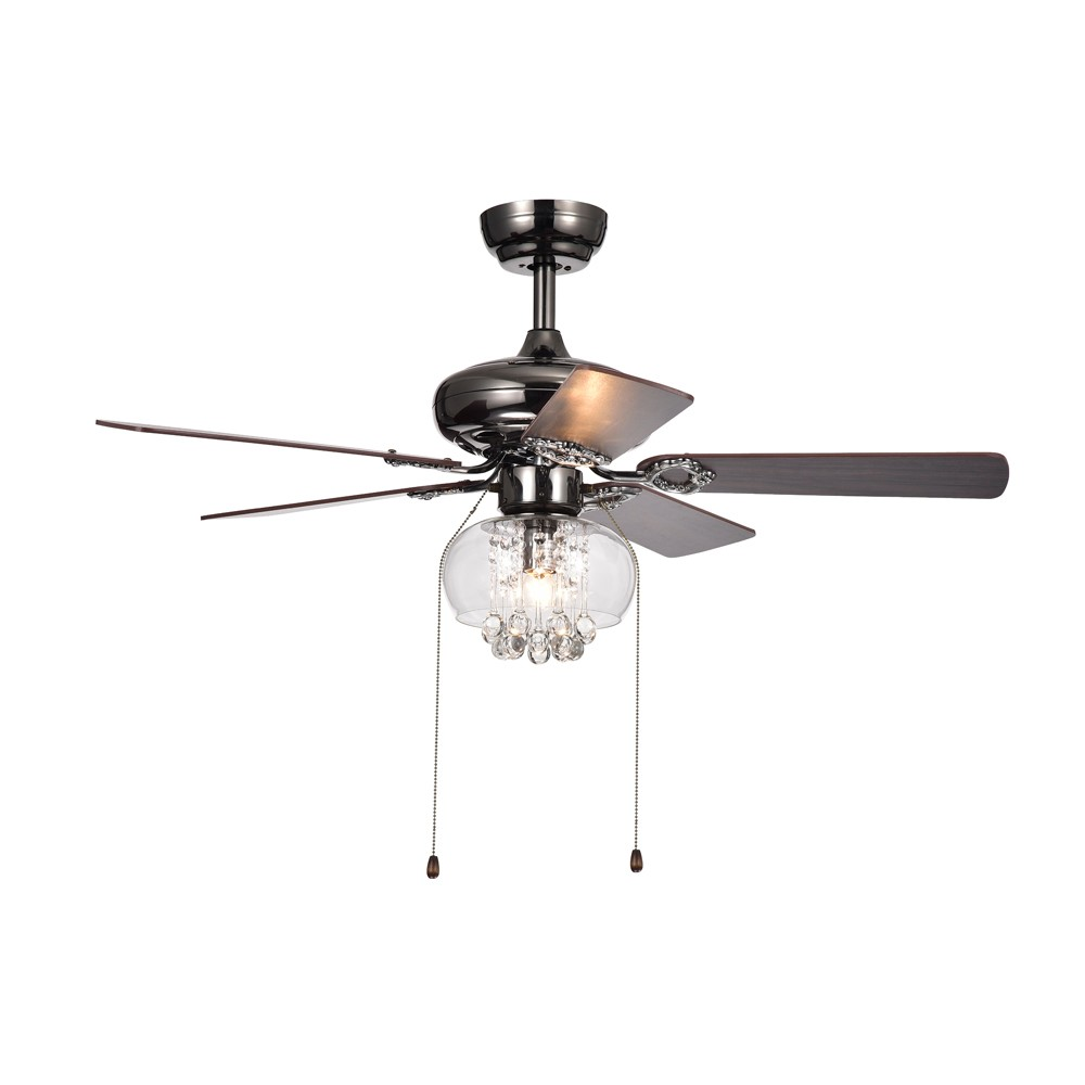Aequor 1 Light Glass and Crystal 5 Blade Pear Black 42 Lighted Ceiling Fan - Warehouse of Tiffany