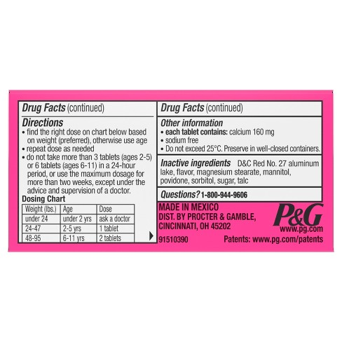 Pepto Childrens Antacid Bubble Gum Chewable Tablet 24ct Target