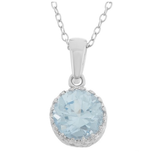 Tiara Sterling Silver Round-cut Birthstone Crown Pendant - image 1 of 1