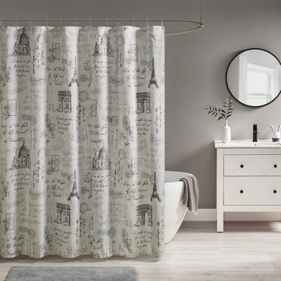 Apolline Paris Printed Shower Curtain Gray/Charcoal