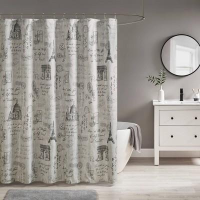Apolline Paris Printed Shower Curtain Gray/Charcoal