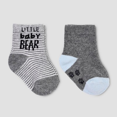 Baby Boys' 2pk Bear Crew Socks - Just One You® made by carter's 0-6M