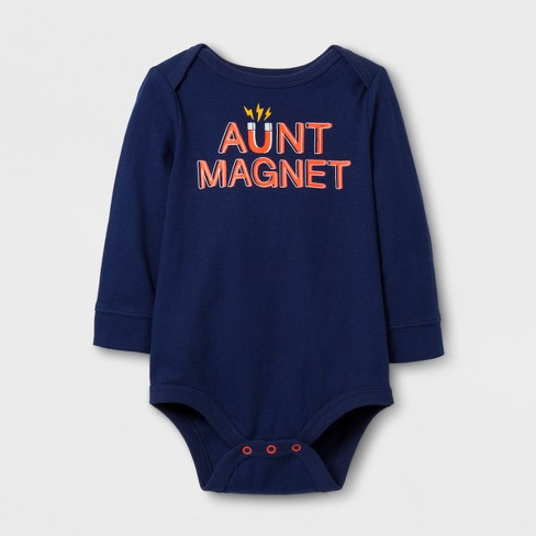 Baby Boys' Long Sleeve Aunt Magnet Bodysuit - Cat & Jack™ Nightfall Blue - image 1 of 1