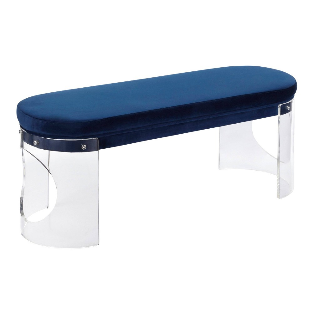 Clarity Contemporary Glam Bench Clear/Navy Blue Velvet - LumiSource