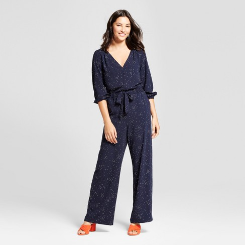 Women's Printed Tie Waist Jumpsuit - A New Day™ Navy - image 1 of 3