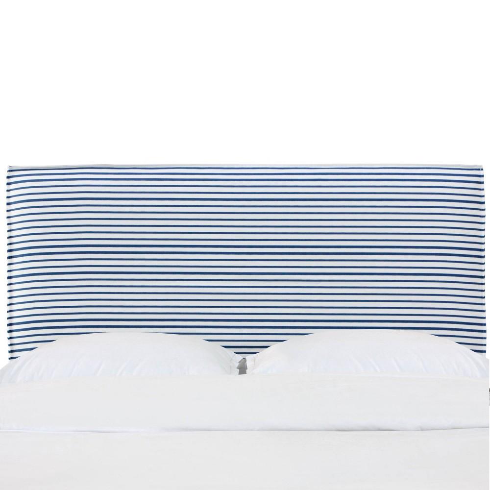 California King French Seam Slipcover Headboard in Nautical Stripe Navy - Cloth & Co., Blue