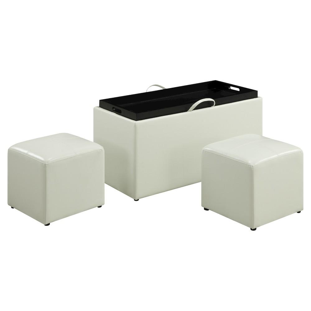 Designs4Comfort Sheridan Storage Ottoman White - Convenience Concepts