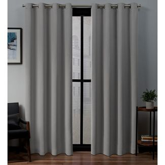 "52""x96"" Sateen Woven Blackout Grommet Top Window Curtain Panel Pair Veridian Gray - Exclusive Home"
