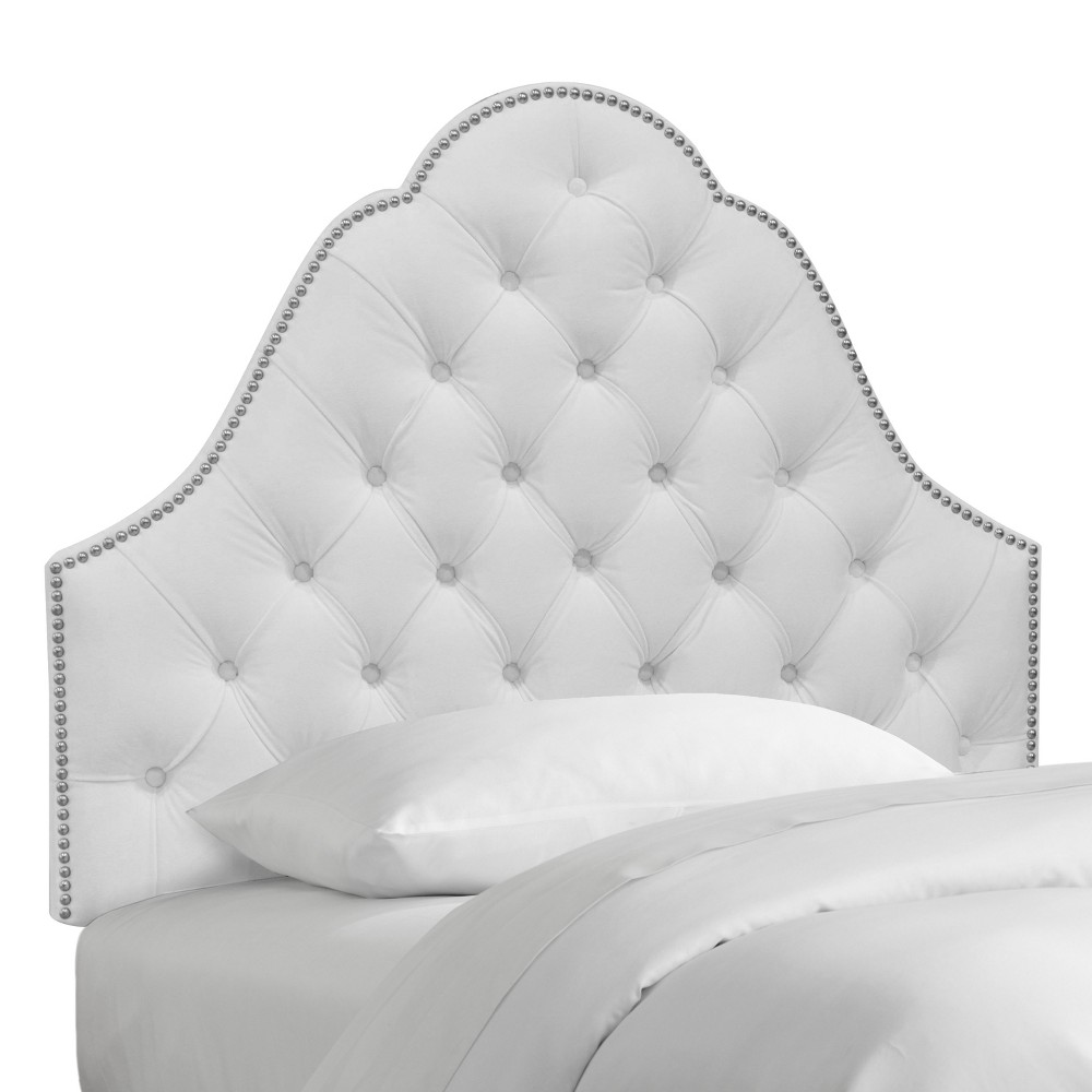 Kid's Velvet Nail Button Tufted Arch Headboard Queen Velvet White with Pewter Nail Buttons - Pillowfort