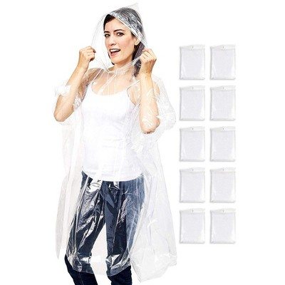 Juvale 10 Pack Rain Ponchos for Adults, Clear Disposable Emergency for Women, Men