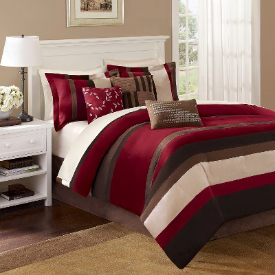 Uptown Stripe 7 Piece Comforter Set - Red/Brown (Queen)