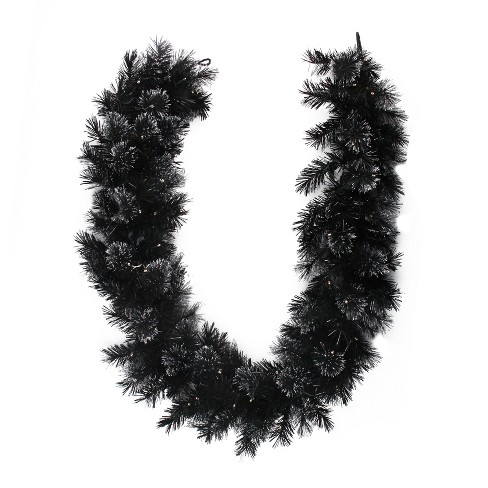 Northlight 6 X 9 Battery Operated Black Bristle Artificial Christmas Garland Warm White Led Lights