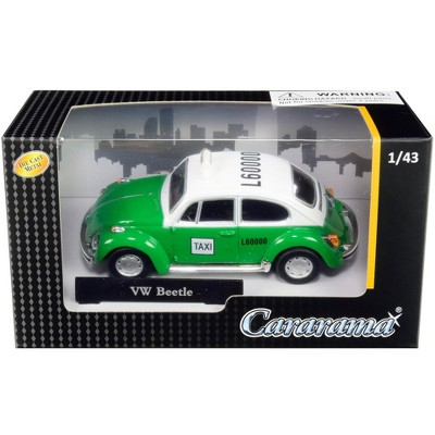 """Volkswagen Beetle """"Taxi"""" Green and White 1/43 Diecast Model Car by Cararama"""