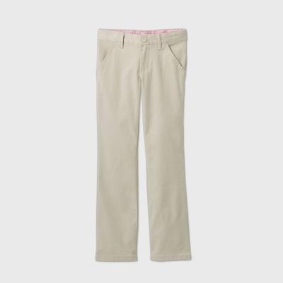 Girls' Flat Front Stretch Uniform Bootcut Fit Pants - Cat & Jack™ Light Khaki