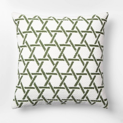 Woven Lines Square Throw Pillow Green/White - Threshold™