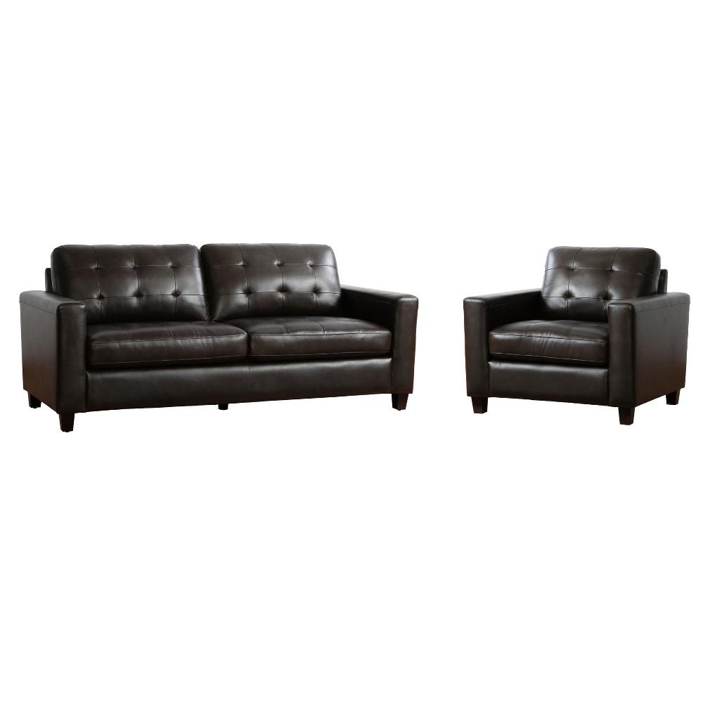 Image of 2pc Libson Top Grain Leather Sofa & Armchair Set Brown - Abbyson Living