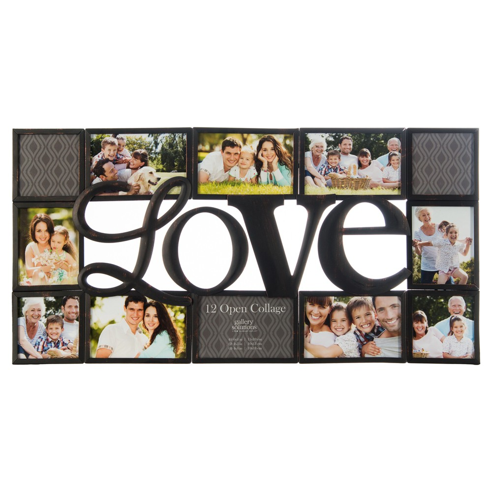 "Image of ""Gallery Solutions """"love"""" Collage Frame Black"""