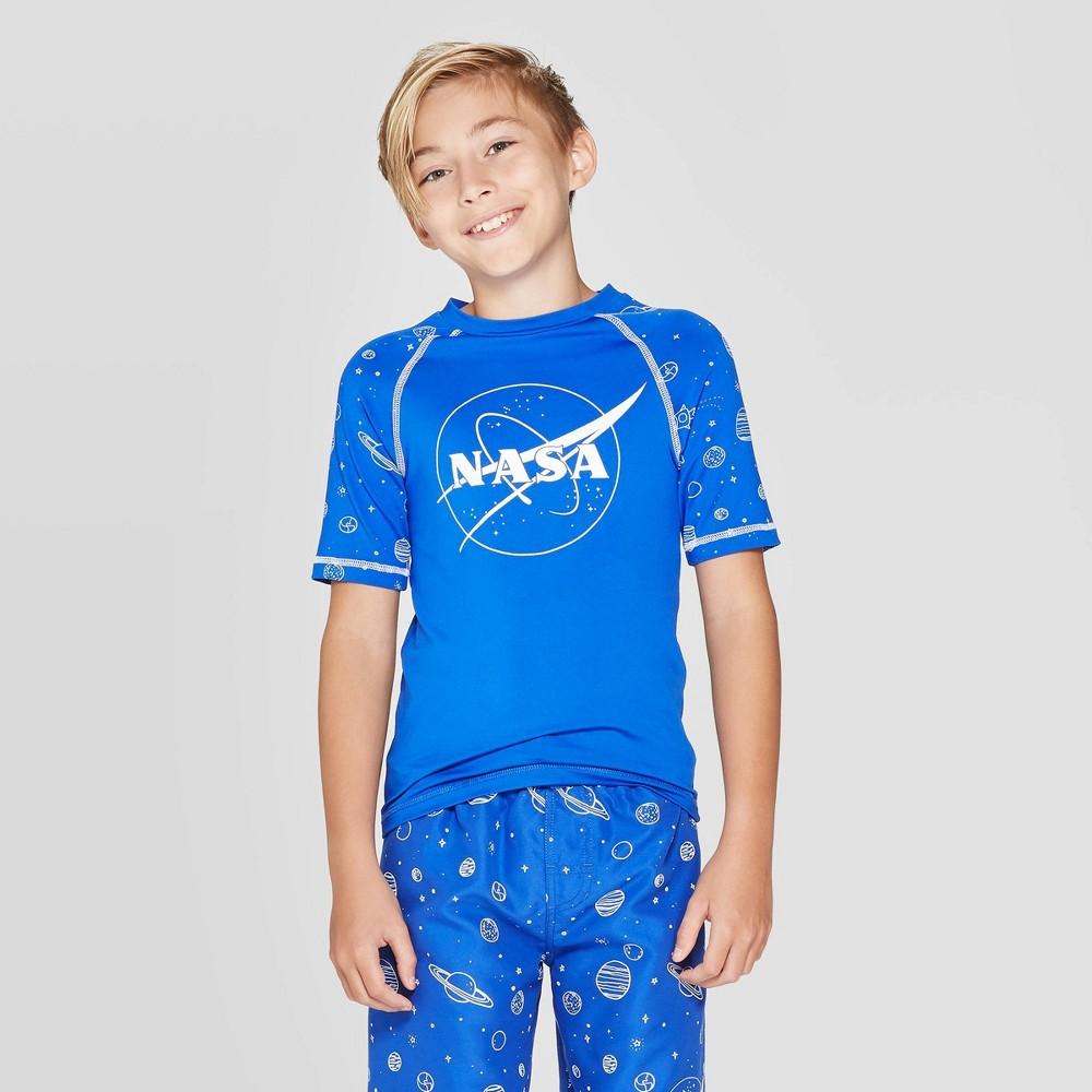 Image of Boys' NASA Logo Planets Rash Guard - Blue L, Boy's, Size: Large