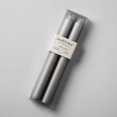 Unscented Taper Candle (2pk)- Gray - Hearth & Hand™ with Magnolia