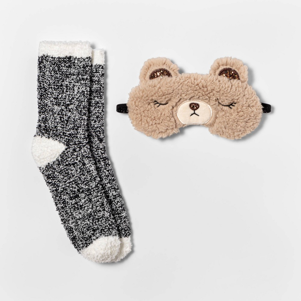 Image of Women's Bear Eyemask & Cozy Socks Set - Brown/Ivory One Size, Women's, MultiColored