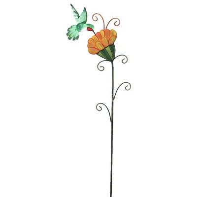 "Home & Garden 35.0"" Sleepy Flower & Hummingbird Spring Summer Round Top Collection  -  Decorative Garden Stakes"