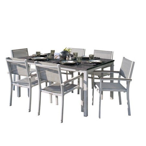 Travira 7pc Patio Dining Set With 63 X40 Table Powder Coated Aluminum Lite Core Charcoal Anium Sling Tekwood Vintage Oxford Garden
