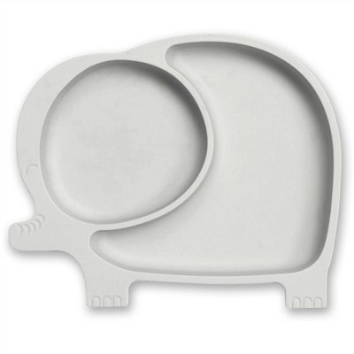Sage Spoonfuls Silicone Suction Elephant Plate - Gray